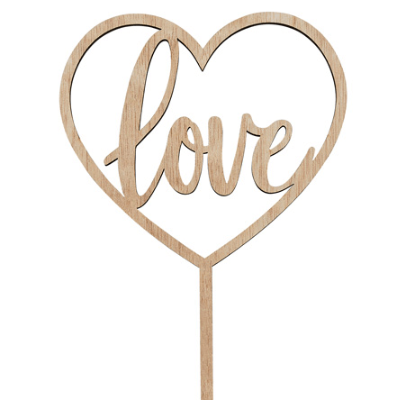 Wooden love heart wedding cake decoration