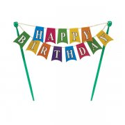 Rainbow happy birthday bunting cake topper decoration