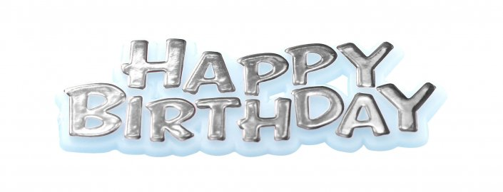 Happy birthday silver motto cake decoration