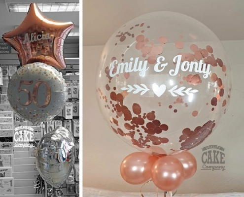 Rose gold inspiration cake & balloons