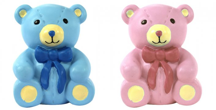 Cute bears cake decoration pink and blue