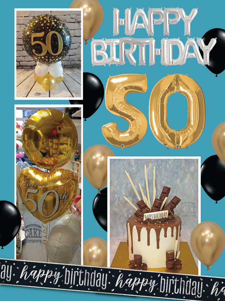 Gold home party cake and balloon package