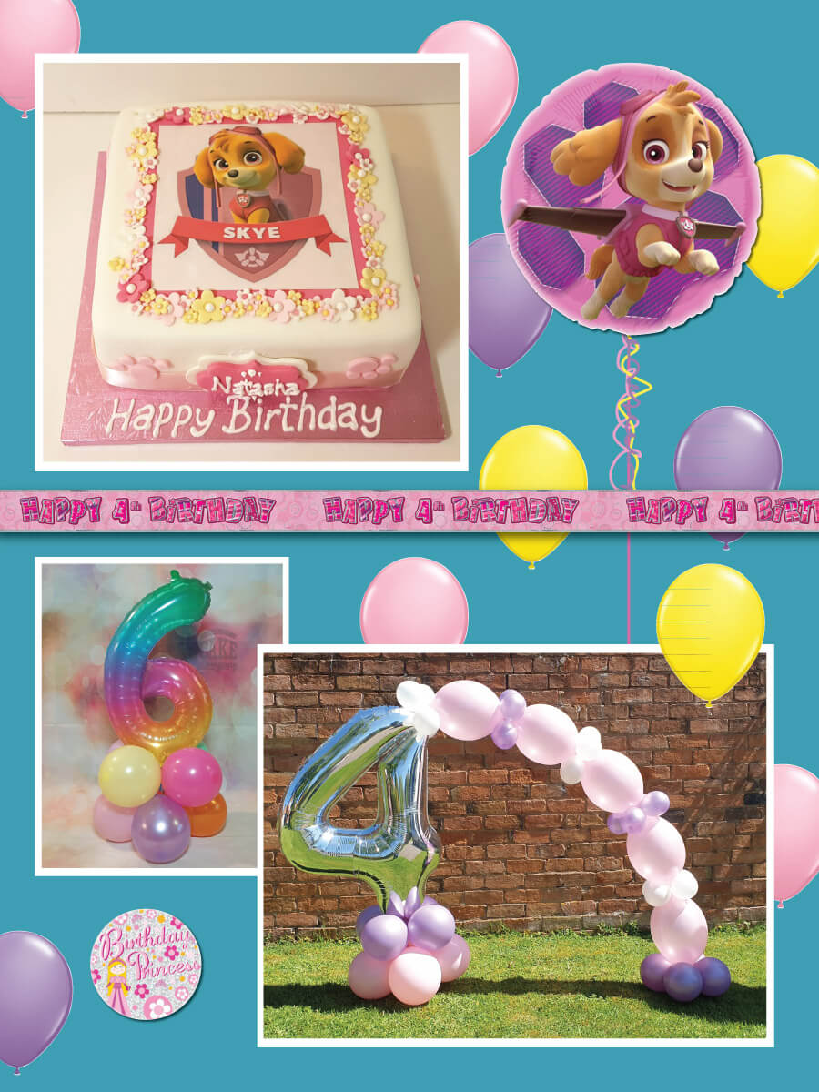 Kids home party cake and balloon package