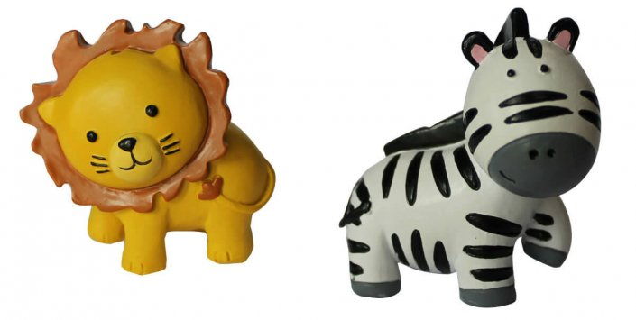 Zoo animals cake toppers - lion & zebra