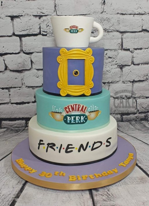 Three-tier FRIENDS theme birthday cake - Tamworth