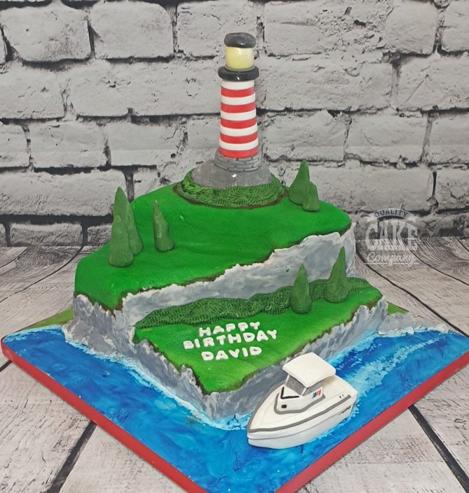 Lighthouse and boat theme cake - Tamworth