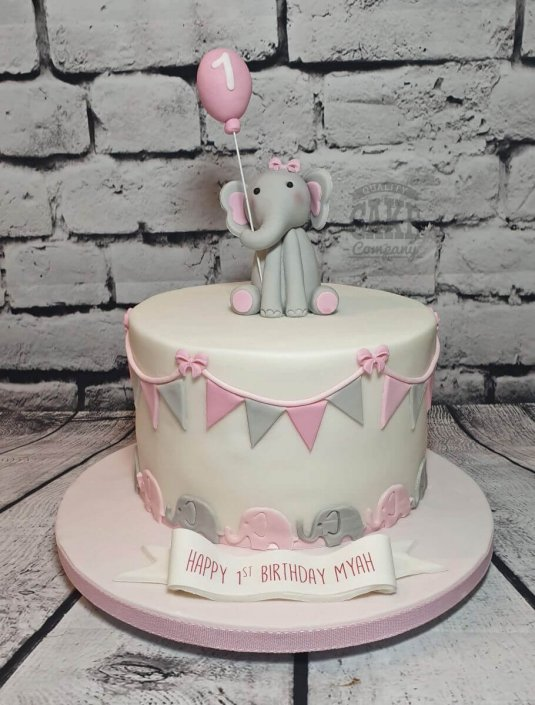 Cute pink elephant baby shower cake - Tamworth