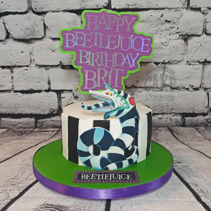 Beetlejuice theme cake with custom topper - Tamworth