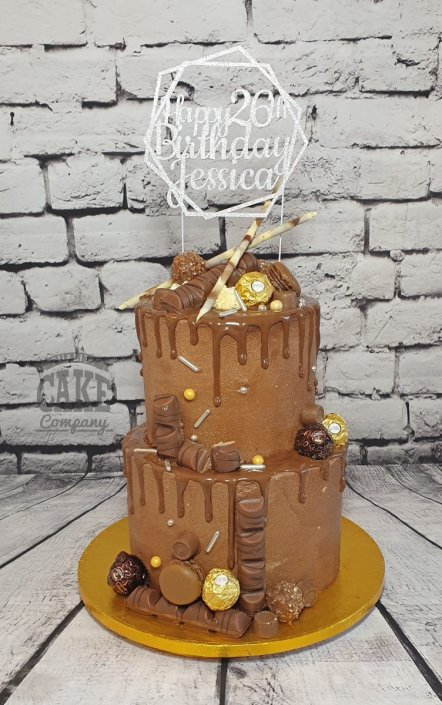 Two-tier chocolate drip with custom topper - Tamworth