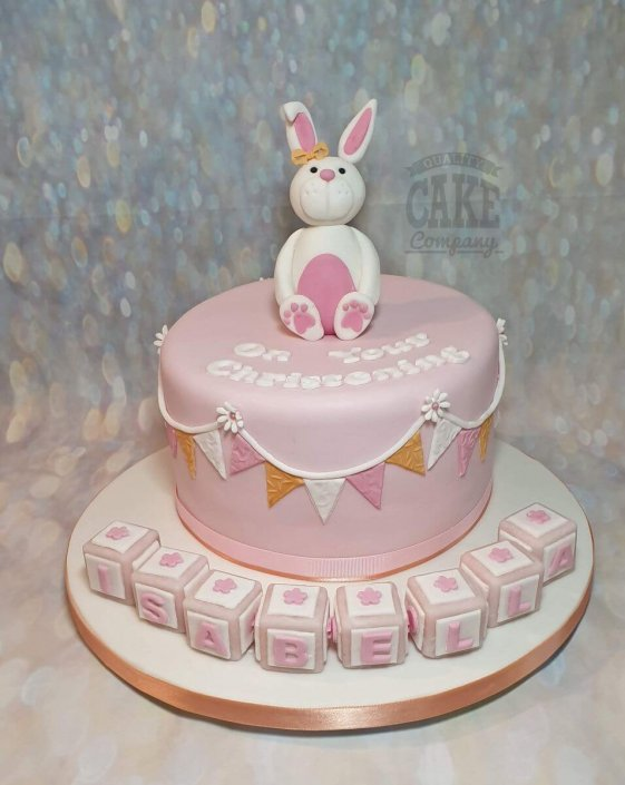 Cute bunny Christening cake pretty pink - Tamworth