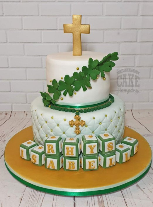 Two-tier Christening cake Shamrock theme - Tamworth