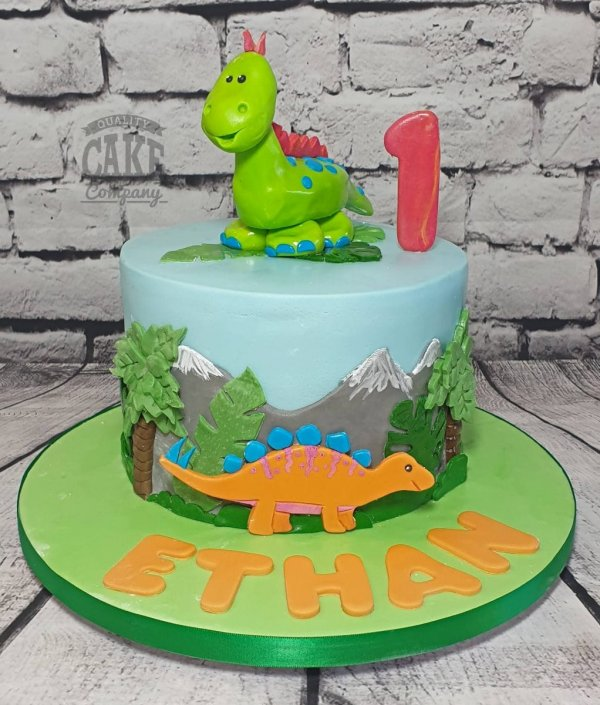Super cute dinosaur cake 1st birthday cake - Tamworth