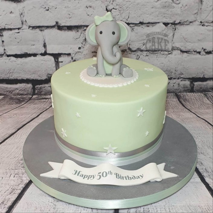 Mint green cake with cute elephant - Tamworth