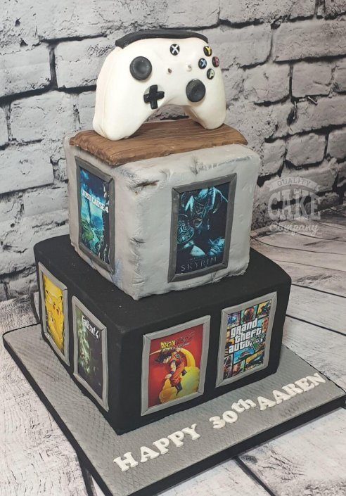 Two-tier xbox gaming theme cake - Tamworth