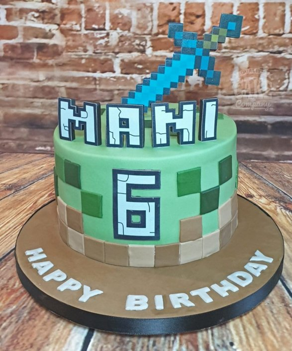 Minecraft theme children's birthday cake - tamworth