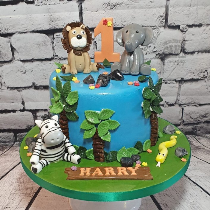 Safari animals 1st birthday cake - Tamworth