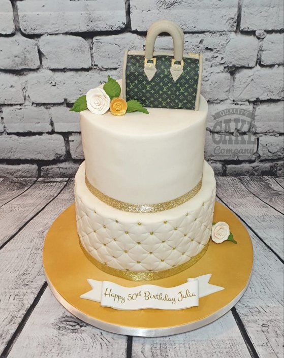 Two tier cream and gold quilted birthday cake - Tamworth