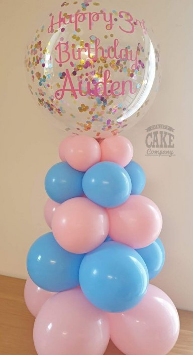 Air-filled balloon column - 20inch bubble confetti-filled & personalised