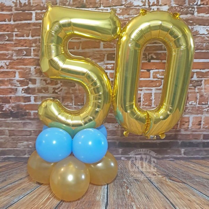 Air-filled double number table display - gold 50