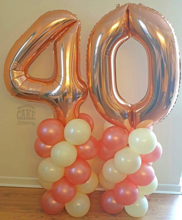 Rose gold air-filled balloon columns - 40th birthday - Tamworth