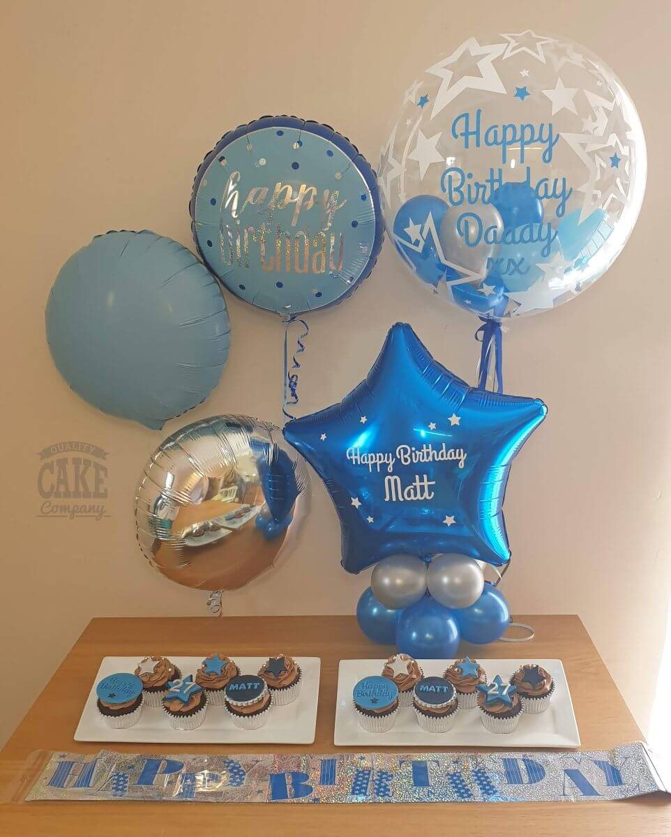 Balloons, cupcakes and personalised bubble balloon - blue birthday theme