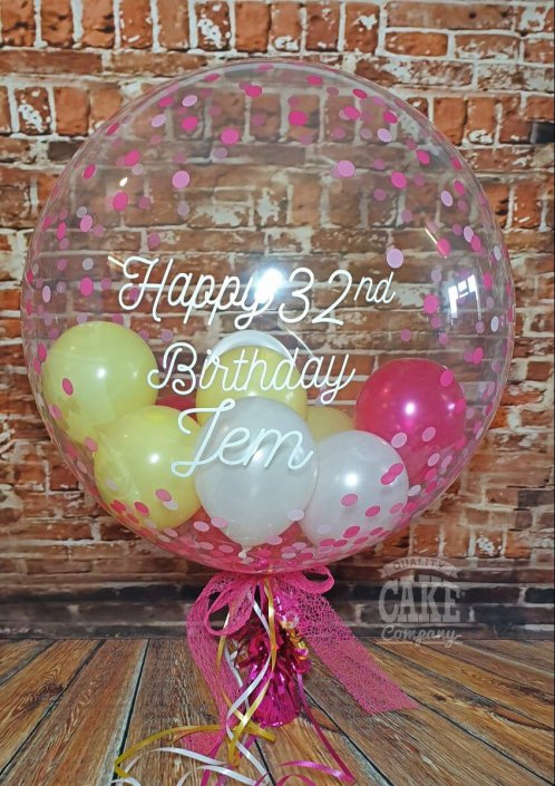 Personalised modern bubble clear balloon with mini balloons inside, pretty pink and yellow