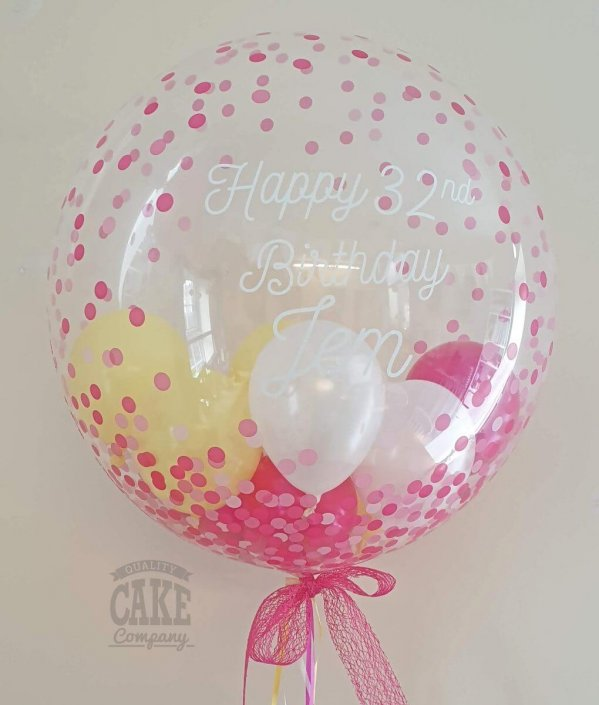 Personalised modern bubble clear balloon with mini balloons inside, pretty pink and yellow - Tamworth