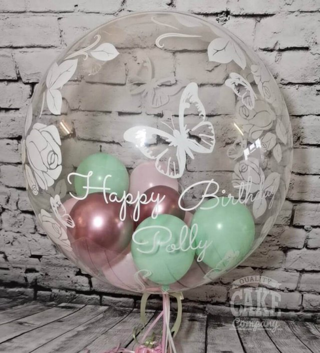 Personalised modern bubble clear balloon with mini balloons inside, pretty pastels - Tamworth