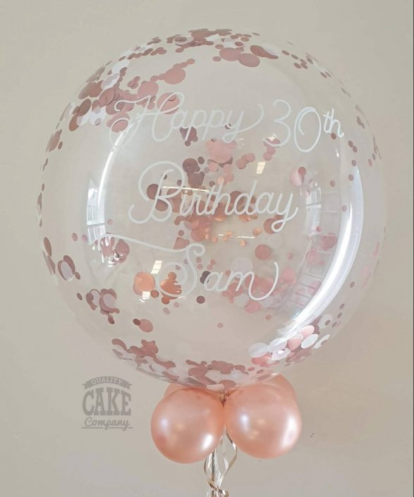 30th birthday rose gold confetti bubble balloon