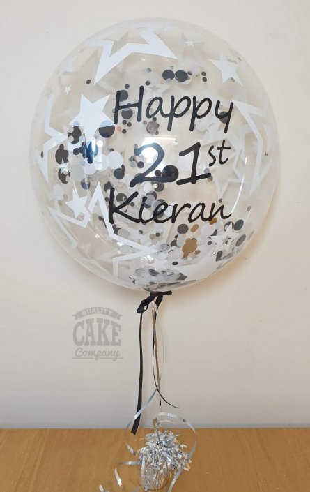 Personalised bubble clear balloon with black and white confetti - Tamworth