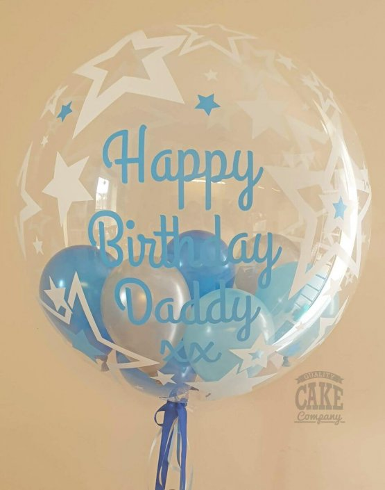 Personalised bubble clear balloon with mini balloons inside, blues