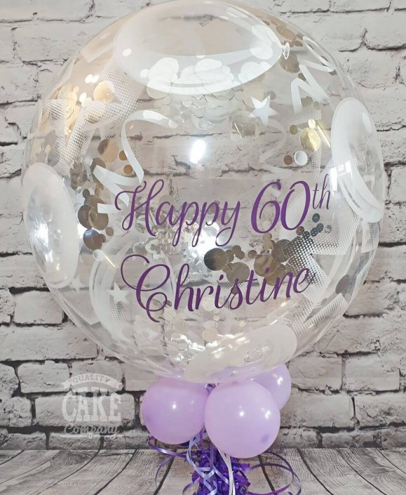 Bubble balloon printed with personalised message, purple colours