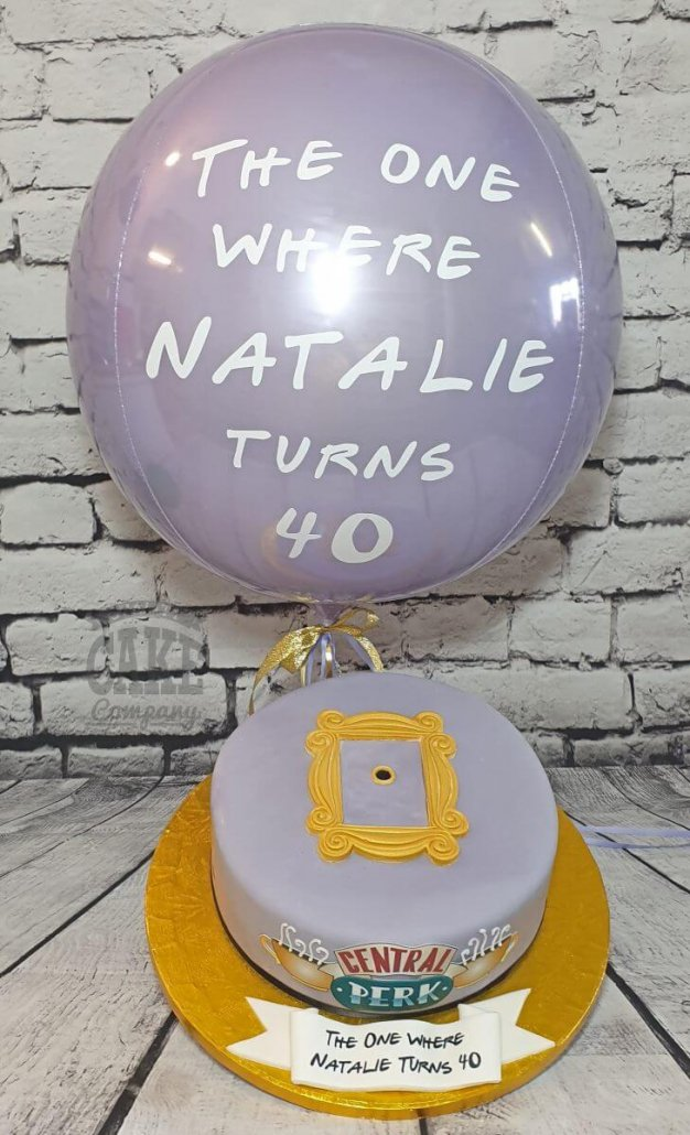 Personalised FRIENDS theme orb balloon and matching cake
