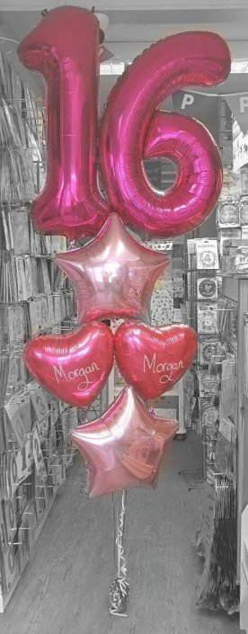 Luxury balloon display Pink 16th Birthday & personalised - Tamworth