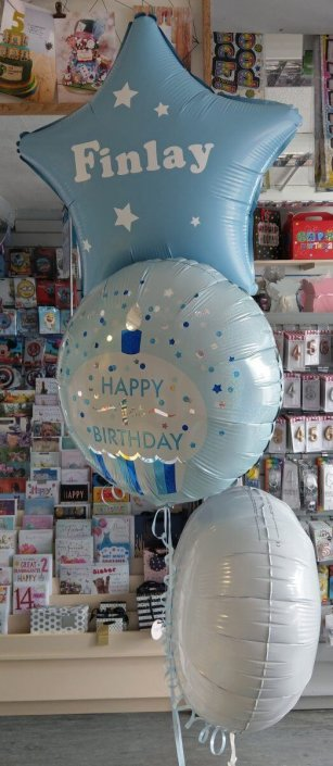 Bunch of 3 foil balloons 1st birthday personalised
