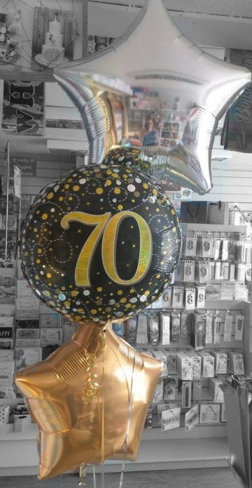 Bunch of 3 foil balloons gold & black - 70th birthday