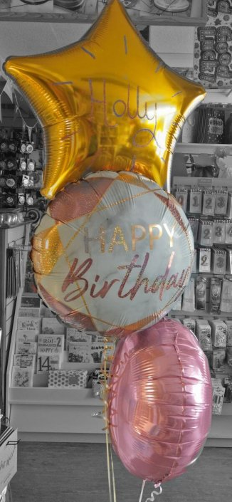 Bunch of 3 foil balloons gold & pink - Tamworth