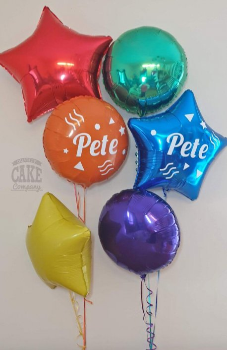 Bunches of 90s theme personalised balloons - Tamworth