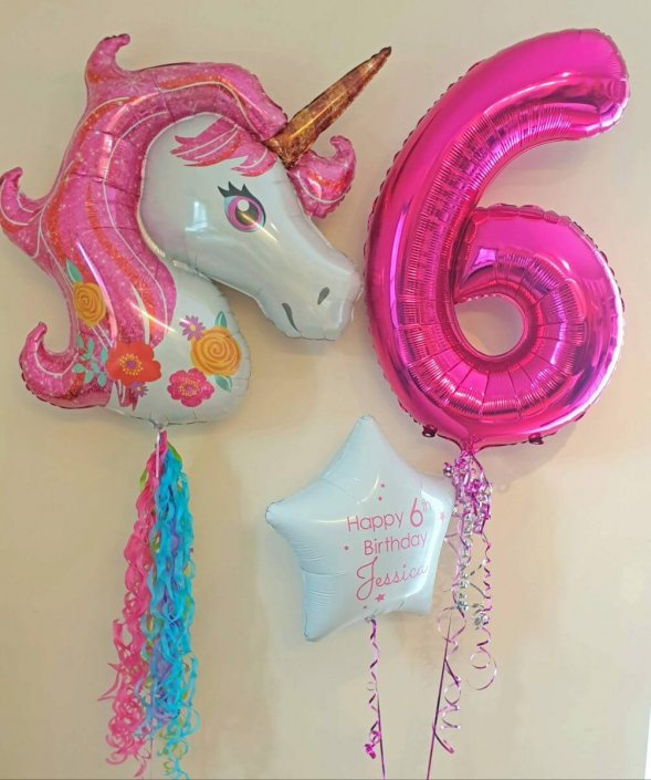 Children's balloons - unicorn, large number balloon and personalised foil - Tamworth