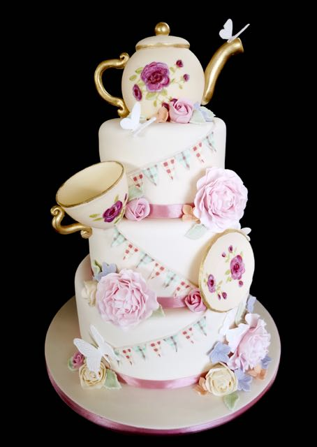 time for tea wedding cake