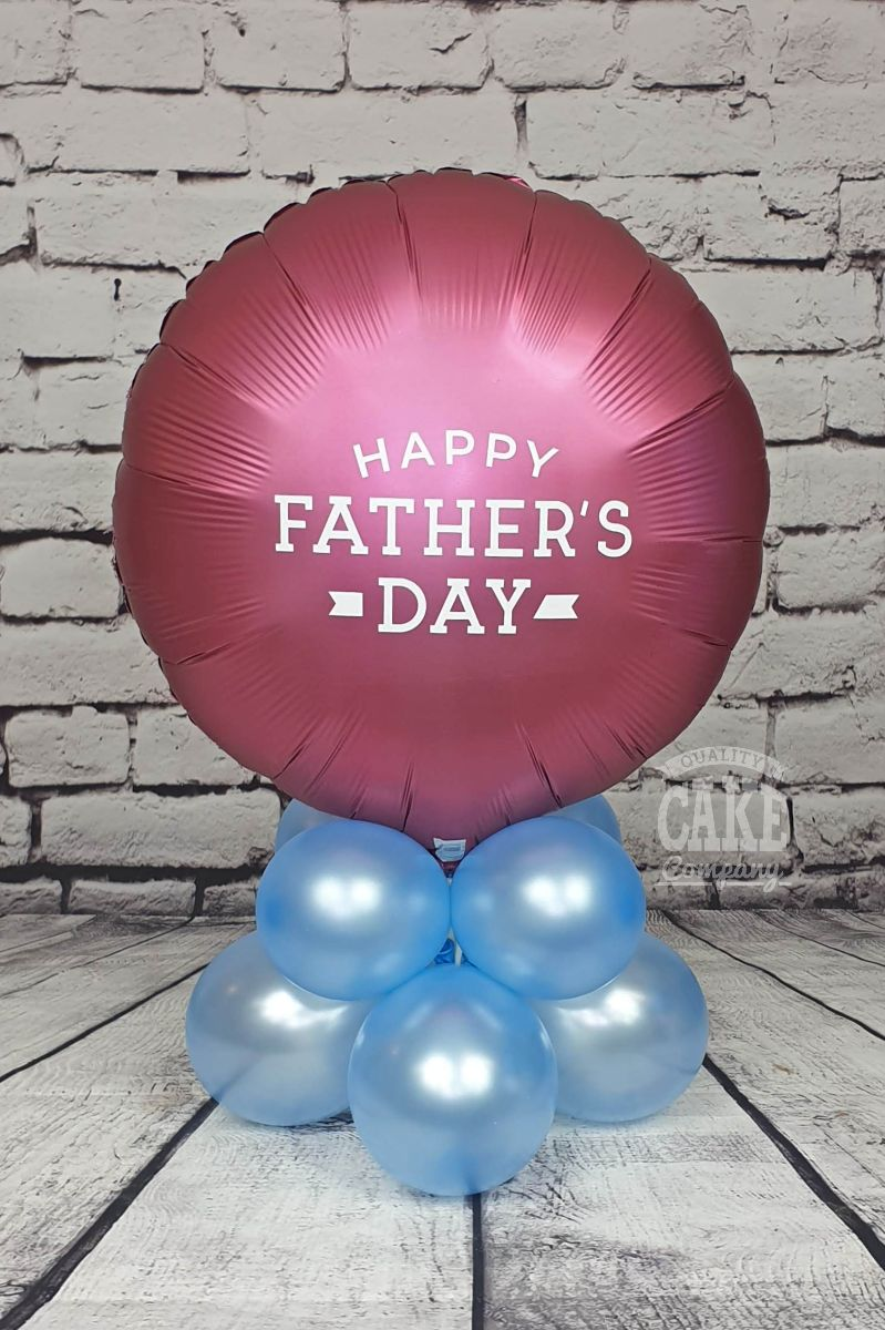 Fathers day football theme table displays AVFC claret and blue
